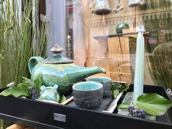 Zölden kéklő teás kanna 2 db csészével