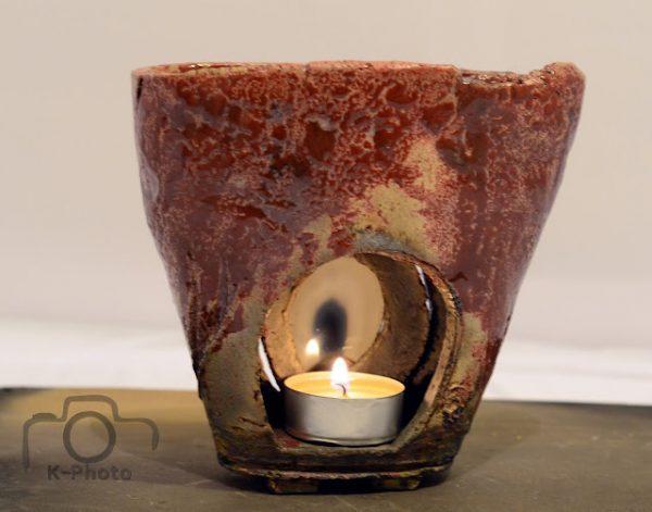 Aromaterápiás mécses, achát szelettel