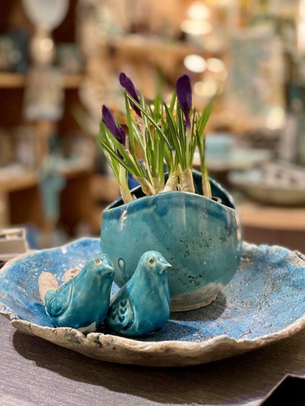 """""""Tavaszi szél vizet áraszt... tál madár párral krókusszal"""