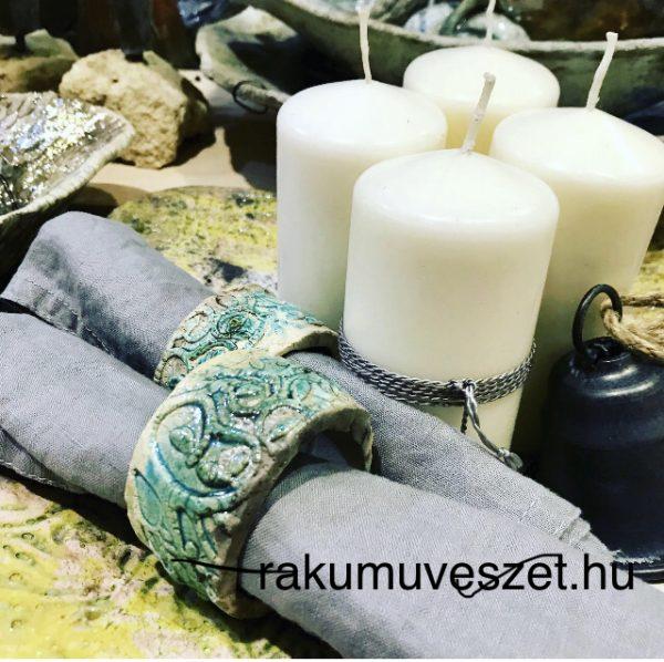 Szalvétagyűrű raku kerámia, életfa motívummal