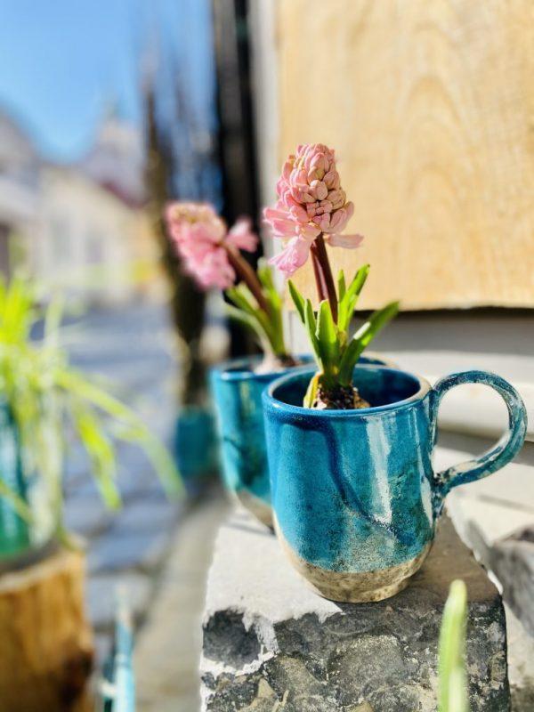 Csésze tavaszi virággal