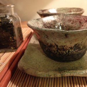 2 személyes tea szet, Zöld fahéj teával és tea tálcával