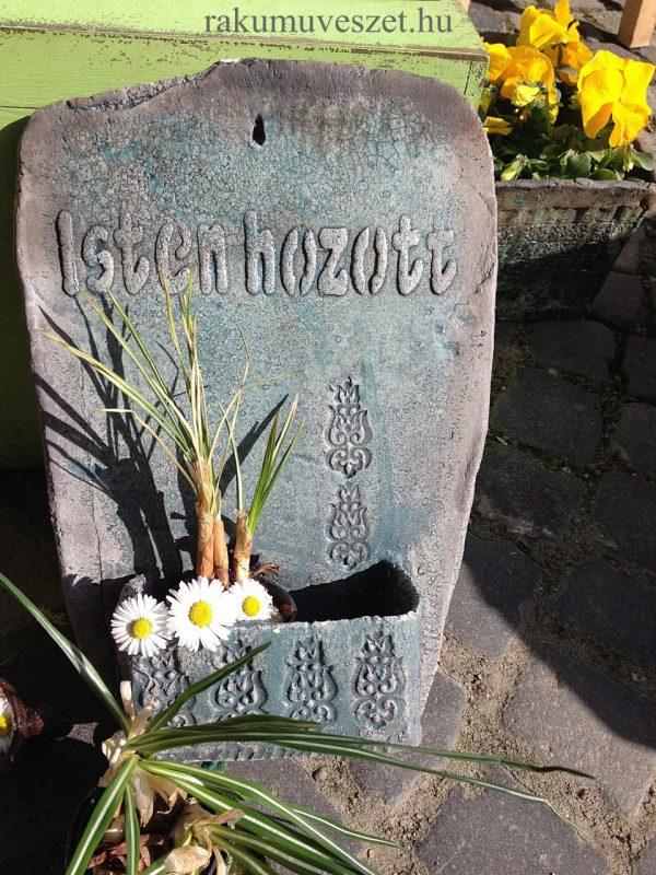 """""""Isten hozott"""" üdvözlettel, tulipános életfával fali virágtartó"""