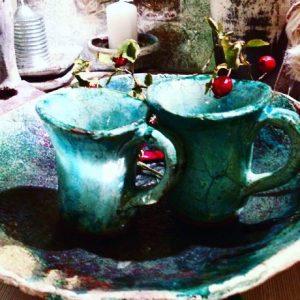 Türkizkék teás csészék