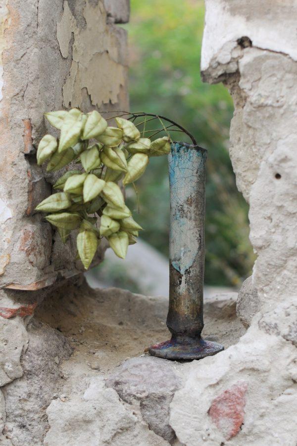 Raku kerámia váza ...novemberi szürkék