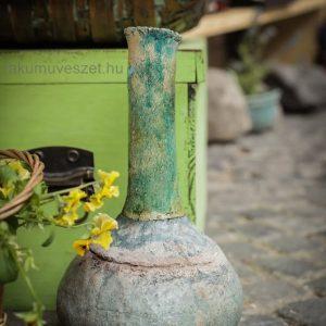 Türkiz raku kerámia váza ..színek, ládák , hangulatok
